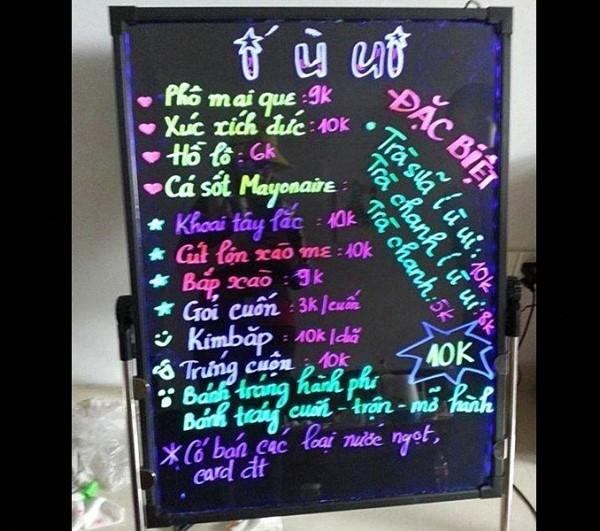 bảng huỳnh quang quán trà sữa